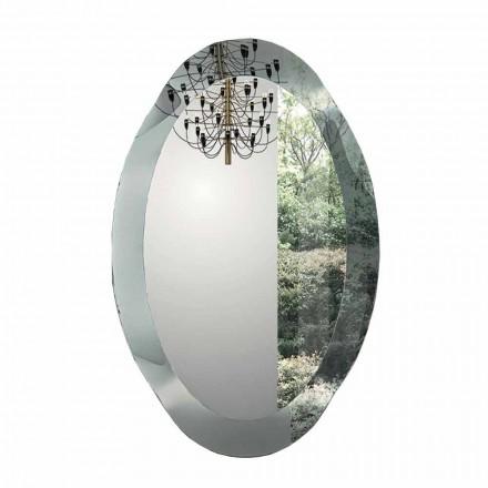 Owalne lustro ścienne z kryształowego szkła falistego Made in Italy - Eclisse