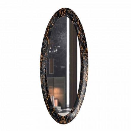 Długie owalne lustro ścienne z ramą z efektem marmuru Made in Italy - Denisse