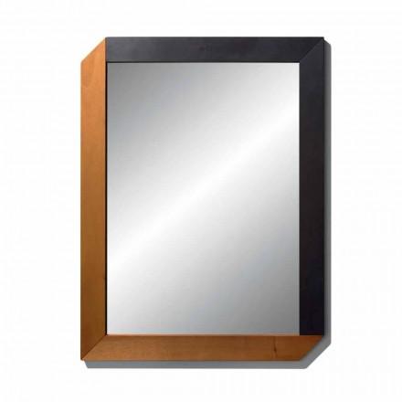 Prostokątne lustro z drewnianą ramą Made in Italy Design - Cira