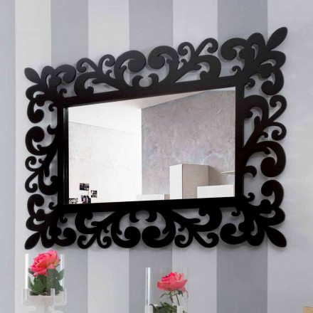 Duże, nowoczesne prostokątne lustro ścienne z czarnego drewna - Manola