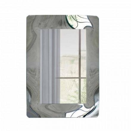 Prostokątne lustro z ramą ze szkła falistego Made in Italy - Vira