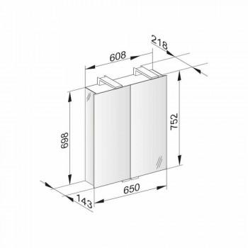 2-drzwiowe lustro ze srebrnym aluminiowym pojemnikiem i chromowanymi detalami - Maxi