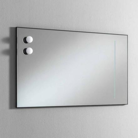 Ścienne lustro łazienkowe z 2 żarówkami i czarną ramą Made in Italy - Frame