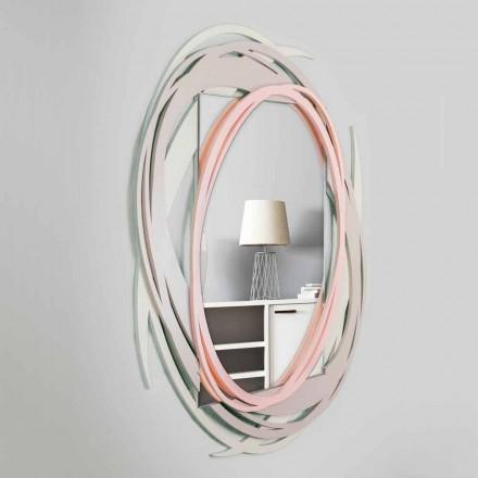 Nowoczesne lustro ścienne z dekoracyjnym wzorem z kolorowego drewna - Orbit