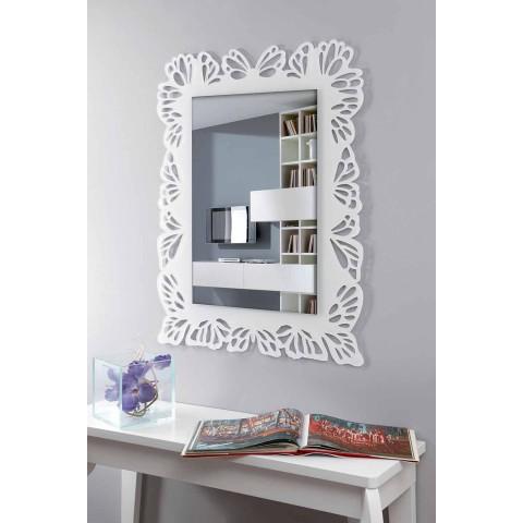Białe lustro ścienne z pleksi z ozdobną prostokątną ramą - Alidifarf