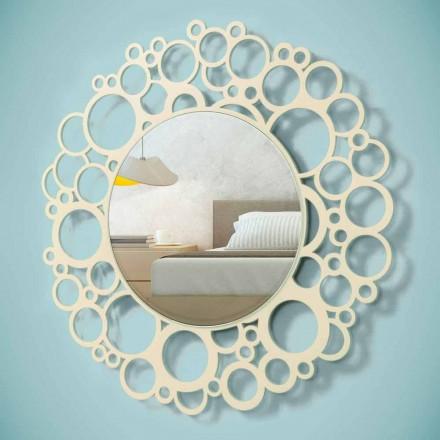 Okrągłe lustro ścienne z brązowego drewna o nowoczesnym designie z ramą - Bumblebee