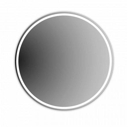 Okrągłe, podświetlane lustro łazienkowe z piaskowaniem Made in Italy - Ranio
