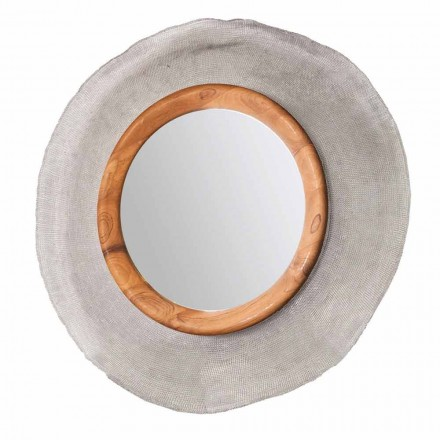 Nowoczesne lustro ścienne w metalu i teaku Monno