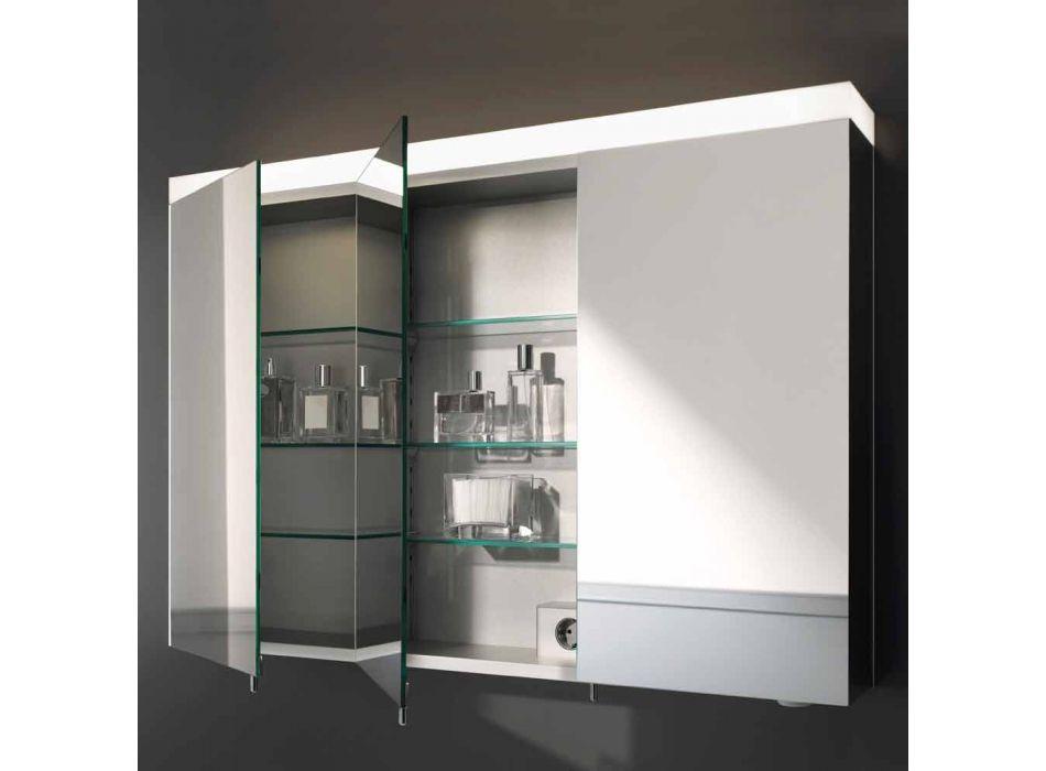 3-drzwiowe lustro ścienne z aluminium malowanego na srebrno - Alfio