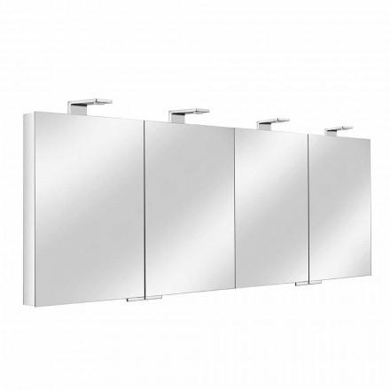 Pojemnik z lustrem z 4 kryształowymi drzwiami z 12 półkami i 4 lampkami LED - Maxi
