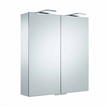 Luksusowe lustro ścienne z 2 drzwiami i oświetleniem LED - zapadkowe