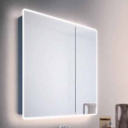 Nowoczesne lustro 2-drzwiowe z lampkami LED, Valter