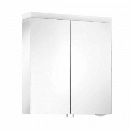 Lustro z 2 drzwiami z aluminium malowanego na srebrno, nowoczesne Alfio
