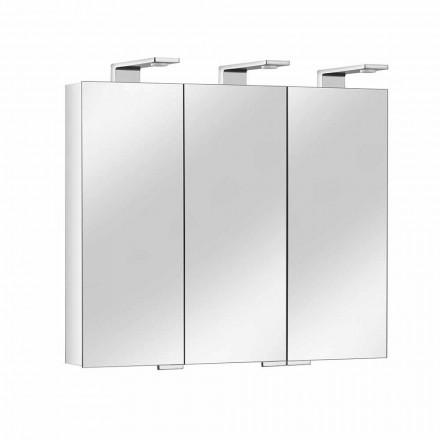 Pojemnik z lustrem z 3 kryształowymi drzwiami i 3 lampkami LED, cenny - Maxi