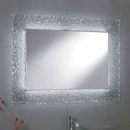 Nowoczesne lustro łazienkowe z dekoracją szklanych ramek i oświetleniem LED Tara