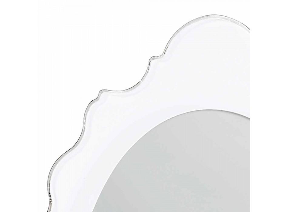Białe lustro ścienne Design Radość zdobiona rama, wykonane we Włoszech
