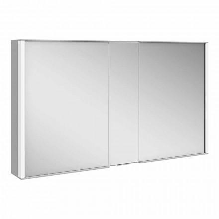 Nowoczesne lustro ścienne z 3 drzwiami z aluminium malowanego na srebrno - Demon