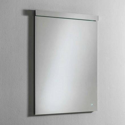 Lustro ścienne ze zintegrowanym oświetleniem LED ze stali nierdzewnej Made in Italy - Tuccio