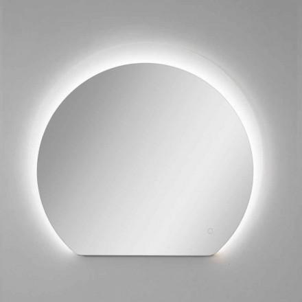 Nowoczesne lustro ścienne z piaskowanym detalem i diodą LED Made in Italy - Rialto