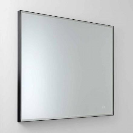 Kwadratowe lustro ścienne z diodą LED w szkle satynowym Made in Italy - Mirro