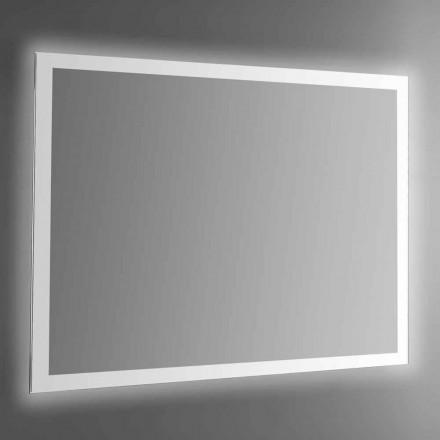 Podświetlane lustro ścienne z piaskowaną ramą Made in Italy - Edigio