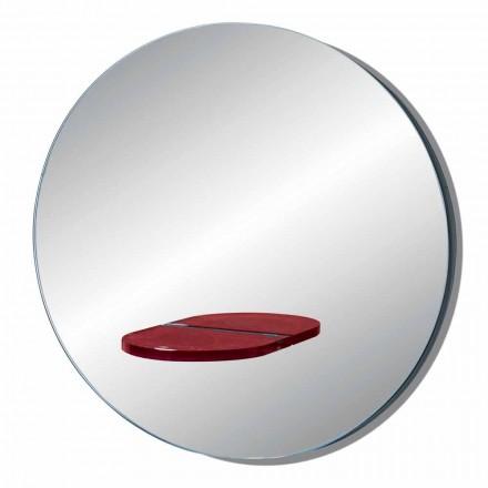 Okrągłe lustro ścienne z półką z kolorowego szkła Made in Italy - Eliza