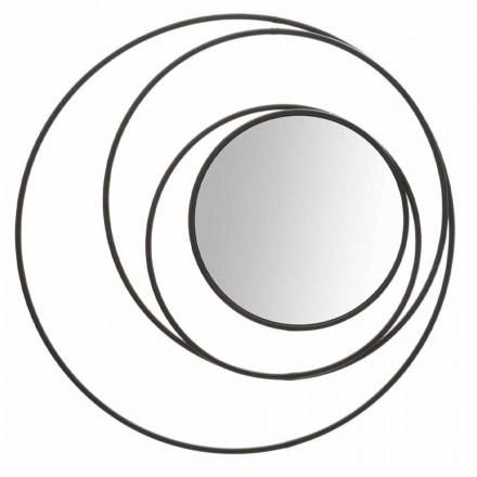 Okrągłe lustro ścienne o nowoczesnym designie z żelaza, Selda