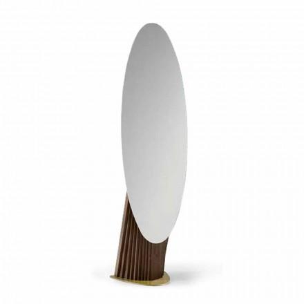 Luksusowe lustro podłogowe z drewna jesionowego i metalu Made in Italy - Cuspide