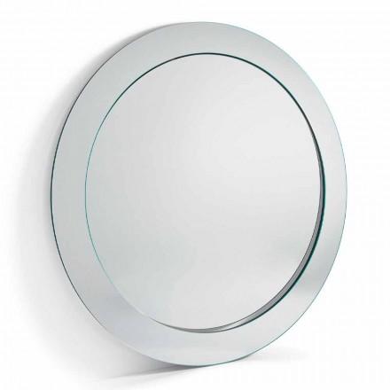 Nowoczesne okrągłe lustro wolnostojące z pochyłą ramą Made in Italy - Salamina
