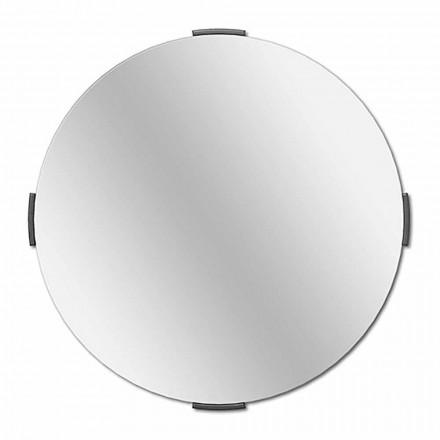 Nowoczesne okrągłe lustro ścienne na wsporniku z ramą - Odosso