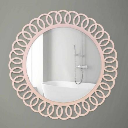 Duże lustro ścienne o dekoracyjnym i nowoczesnym designie z różowego drewna - korona