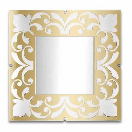 Kwadratowa rama lustra z pleksi Złoty, brązowy, srebrny wzór - Foscolo
