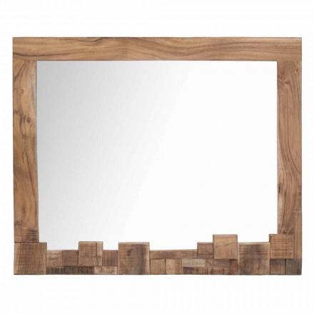 Nowoczesne, prostokątne lustro ścienne z ramą z drewna akacjowego - Eloise