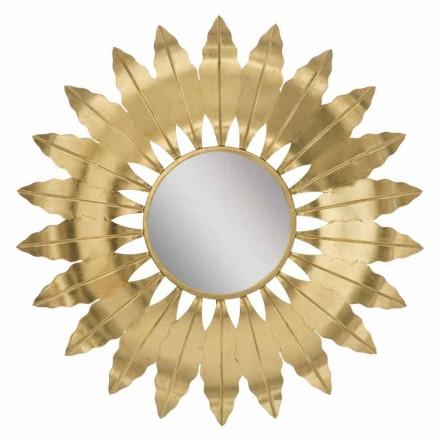 Nowoczesne, okrągłe lustro ścienne z żelazną ramą - Galdi