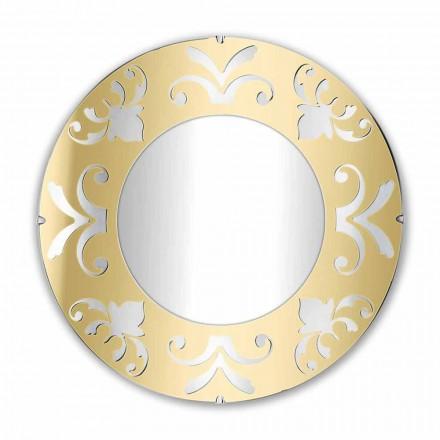 Okrągłe lustro w złotym, srebrnym lub brązowym pleksi z ramą - Foscolo