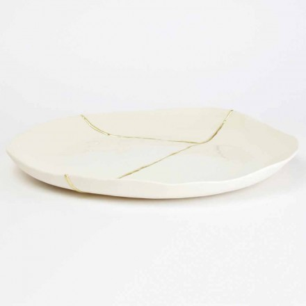 Okrągła taca z białą porcelaną i złotymi listkami - Cicatroro