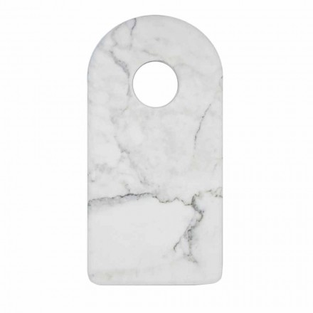 Nowoczesna biała deska do krojenia z marmuru Carrara Made in Italy - Amros