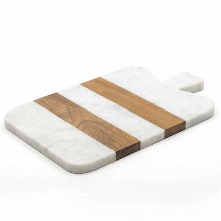 Deska do krojenia z białego marmuru i drewna Carrara Made in Italy - Evea