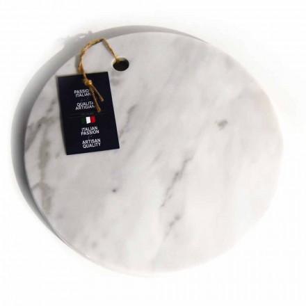Okrągła deska do krojenia z białego marmuru Carrara Made in Italy - Masza