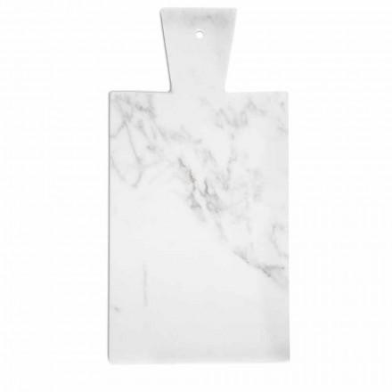 Nowoczesna deska do krojenia z białego marmuru z Carrary Made in Italy - Biblon