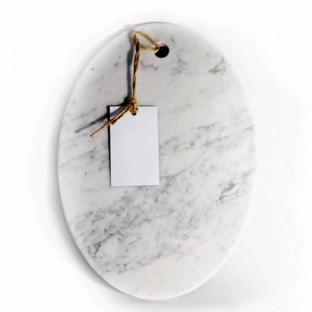 Nowoczesna owalna deska do krojenia z białego marmuru z Carrary Made in Italy - Masza