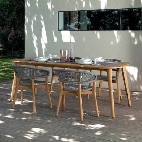 Talenti Moon stół do jadalni na świeżym powietrzu wykonany z drewna tekowego we Włoszech