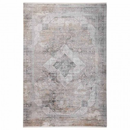 Zaprojektuj dywan w szarym beżowym wiskozie i akrylu z rysunkiem - prezydent
