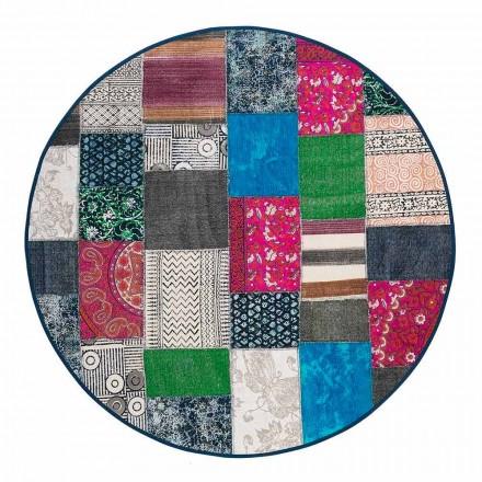 Okrągły dywan etniczny z kolorowej bawełny - włókno
