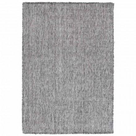 Duży dywan z frędzlami w nowoczesnym stylu z czarnej lub kremowej wełny - Jacqueline