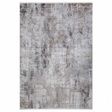 Antypoślizgowy dywan w szarym beżowym wiskozie i akrylu z rysunkiem - prezydent