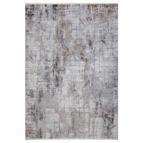 Szary beżowy dywanik antypoślizgowy z wiskozy i akrylu z wzorem - prezydent