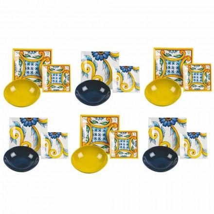 Elegancki kolorowy zestaw stołowy, porcelana i kamionka 18 sztuk - płytki