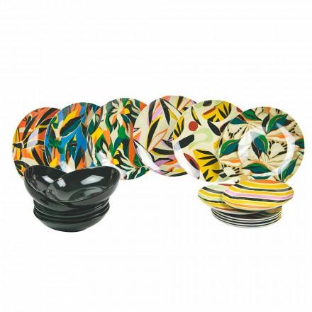 Serwis stołowy z porcelany i kolorowej kamionki 18 sztuk - tequila