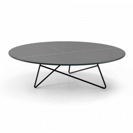 Okrągły stolik do salonu z metalu i szkła z efektem luksusowego marmuru - Magali
